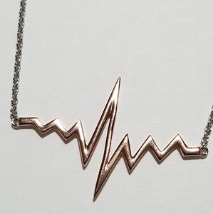 Jewelry - Sterling Silverw/Rose Gold PlateEKG wave Necklace